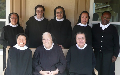 Picture of our community taken October 2, 2016. Back row from the left are: Sisters Guadalupe, Mary, Kateri, Agnes Le and Dailesi; on the bench from left to right are Sister Hilda, Mother Julianne and Mother Benedicta